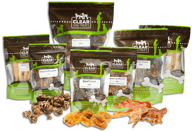 CLEAR dog treats packs